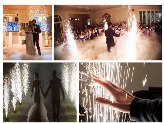 Hochzeit in Itzehoe mit DJ Maikel Brautpaare mit stereneregen maschinen